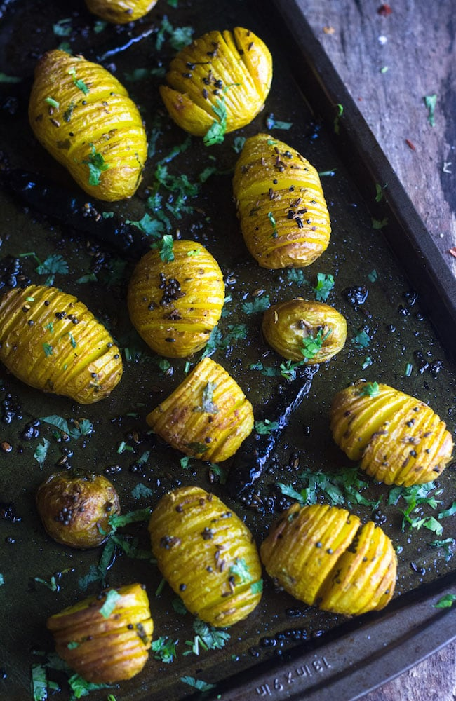 Indian style spicy hasselback potatoes
